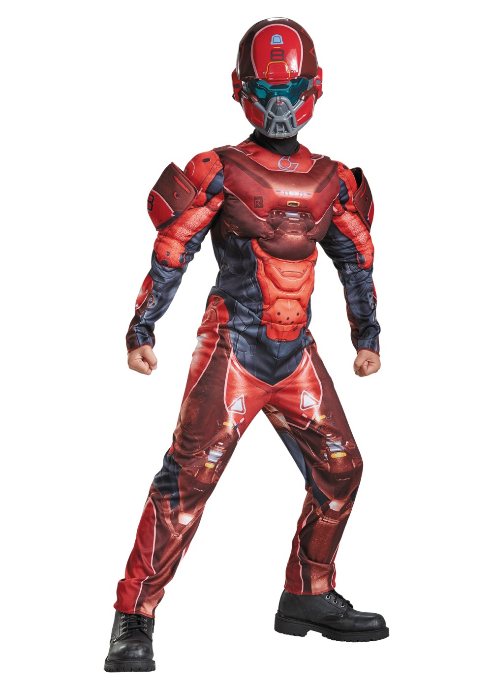Halo Red Spartan Muscle Boys Costume