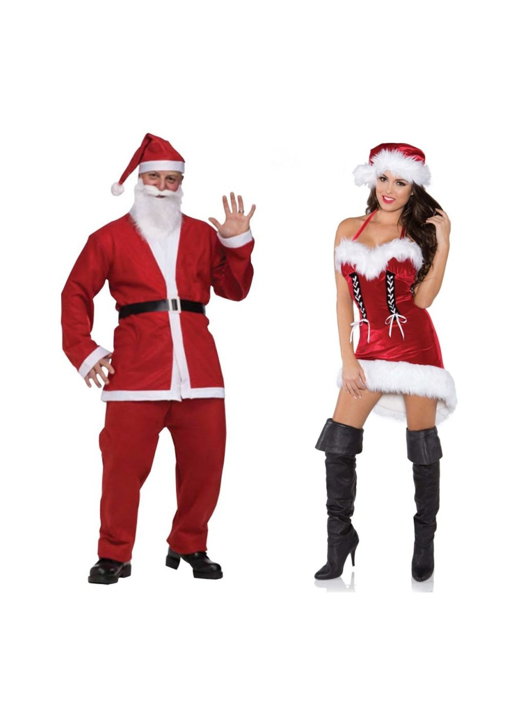 0828727395fe7 Santa Pub Crawl Men Costume and Sexy Miss Santa Women Costume Set - Couples  Costume