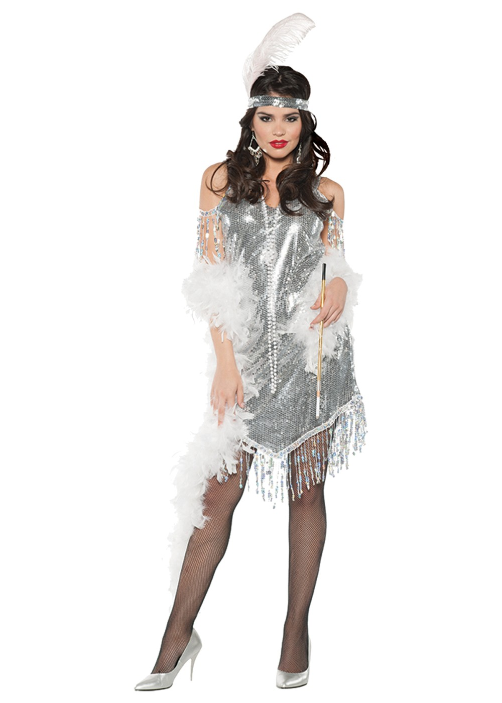 Swingin Silver Flapper Women Costume