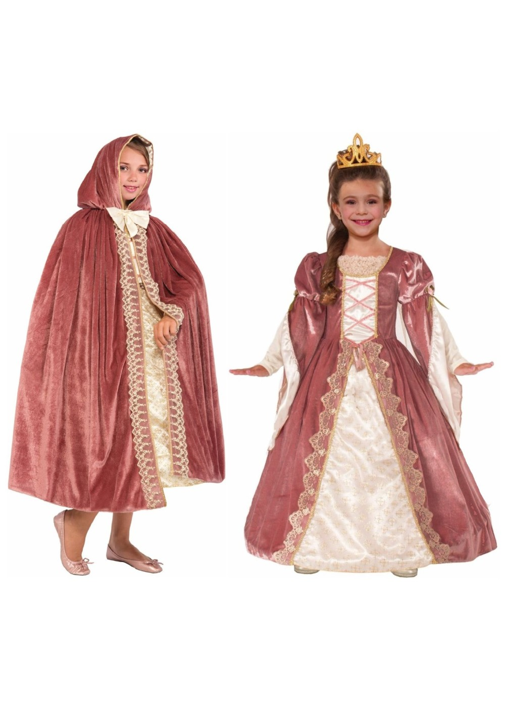 Kids Victorian Rose Princess Girls Costume And Hooded Cape Set