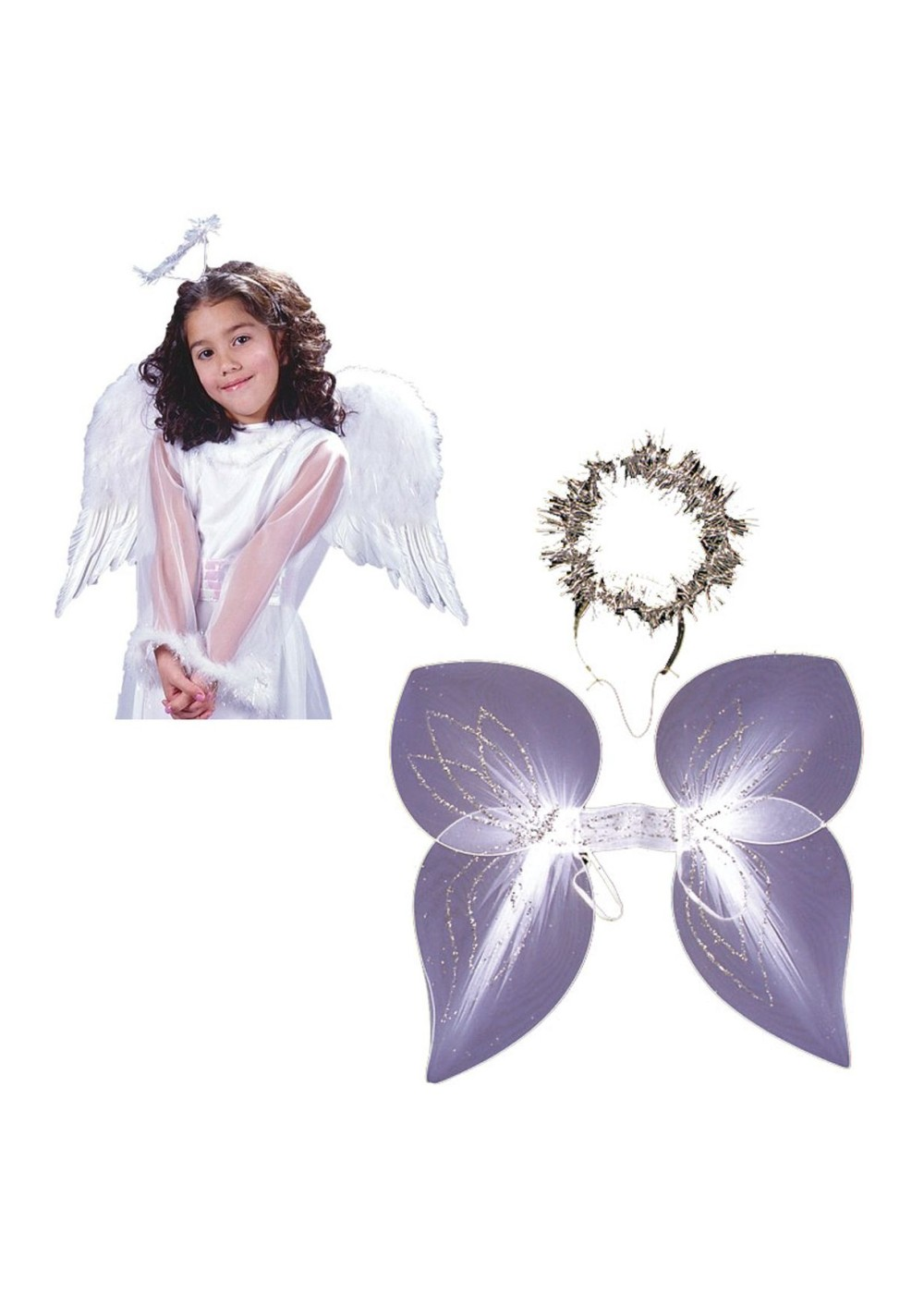Kids White Angel Girls Wings And Angel Women Wings And Halo Set