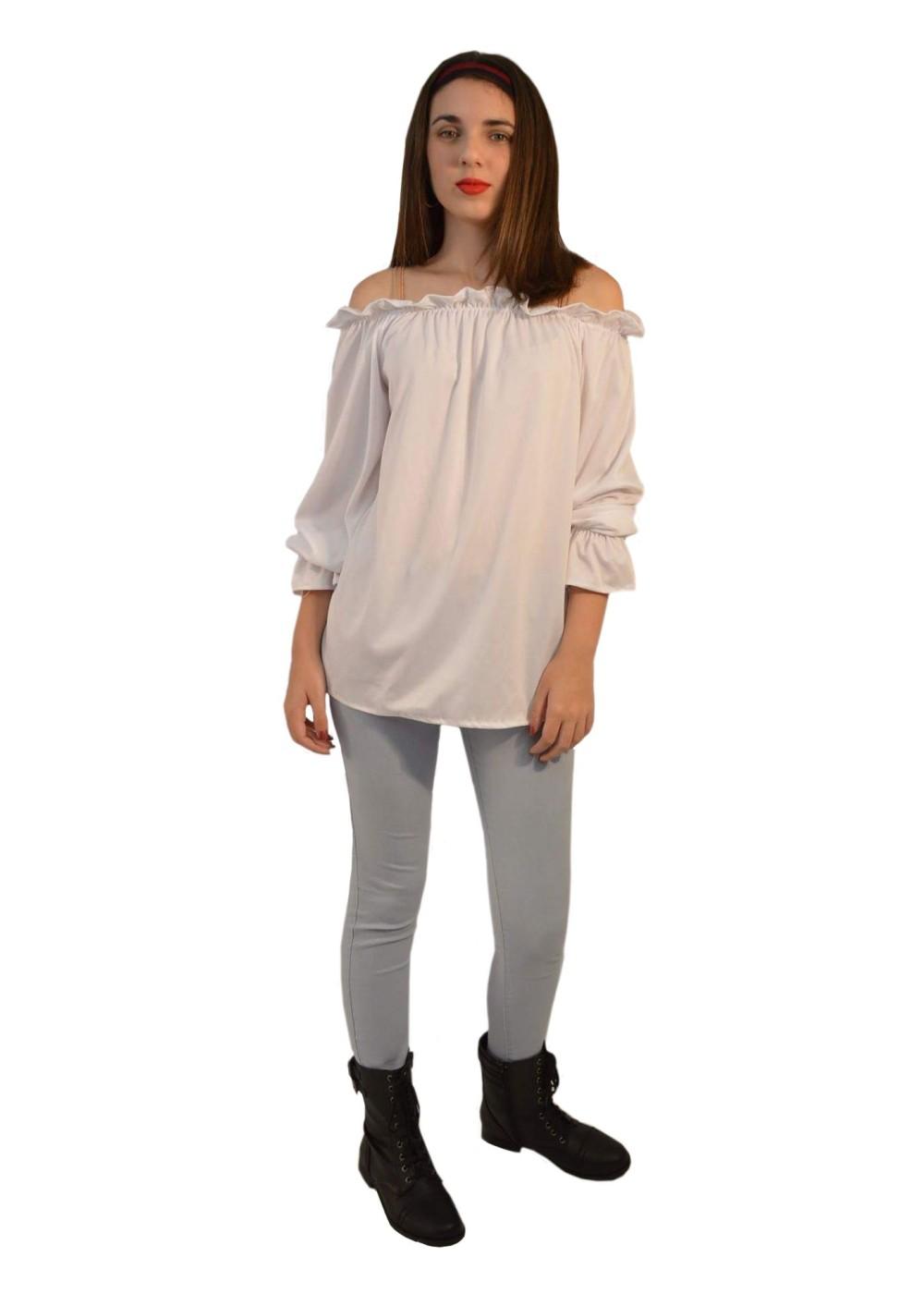 Women'S White Blouse Long Sleeve 118