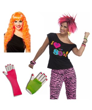 1980s Party Girl Women Costume Kit