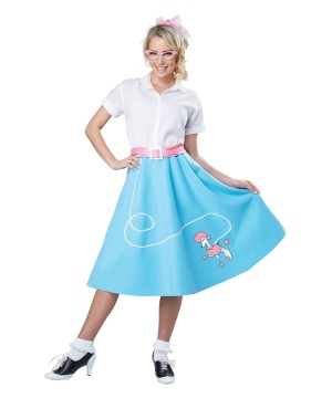 1950s Blue Poodle Women Skirt