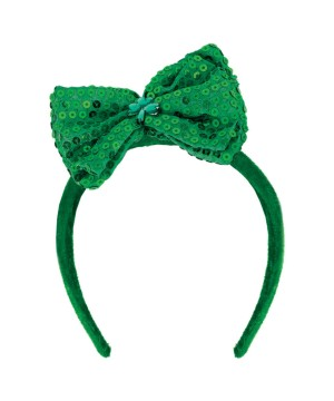 Adult Green Sequin Bow Headband