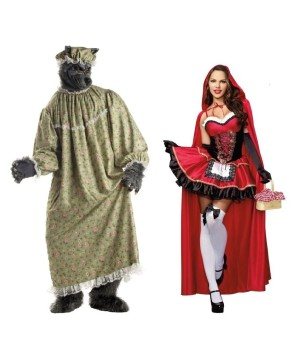 Adult Little Red Riding Hood and Wolf Couples Costumes
