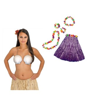 Womens Purple Aloha Costume Kit