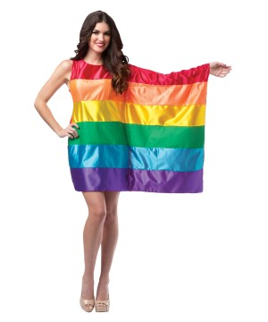 Asymmetrical Sleeve Womens Rainbow Flag Dress