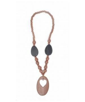 Brown Beaded Heart Wood Necklace