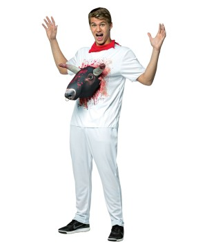 Bull 3d Attacks White Tee Mens Costume
