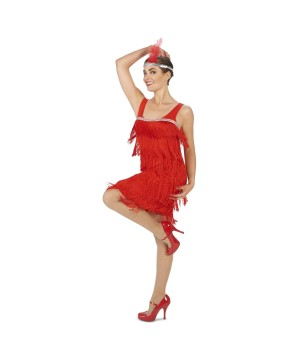 Flaming Red Womens Flapper Dress