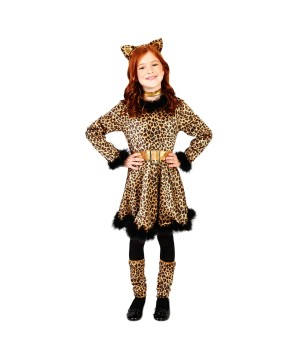 Girls Leopard Dress Costume