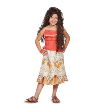 Moana Girls Costume and Wig Set