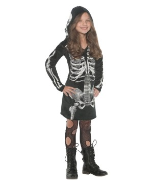 Girls Skeleton Hoodie Dress
