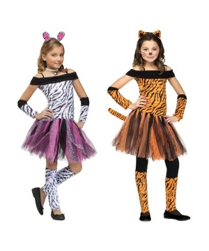 Girls Tigeress and Zebra Animal Costume Set