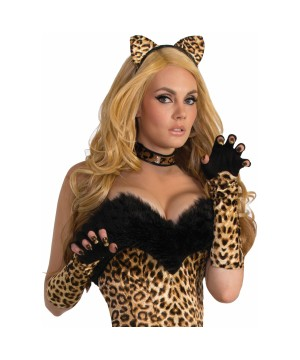 Leopard Costume Fingerless Gloves