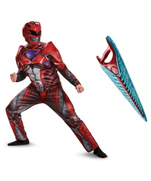 Mens Red Power Ranger Costume Kit