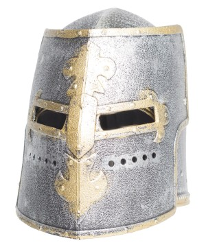 Mens Silver Knight Helmet