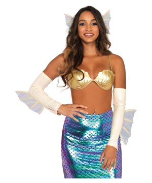 Mermaid Fin Ears and Arm Warmers Women Costume Accessory Kit