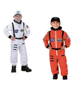 Nasa Orange Astronaut and White Astronaut Boys Costumes