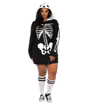 Plus size Women Skeleton Hoodie Dress