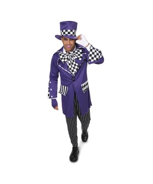 Purple Gothic Mad Hatter Mens Costume