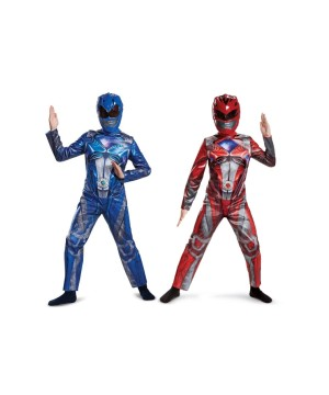 Red and Blue Kids Power Rangers Costume Duo.