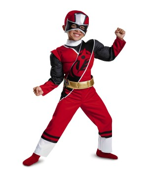 Red Power Ranger Toddler Boys Muscle Costume
