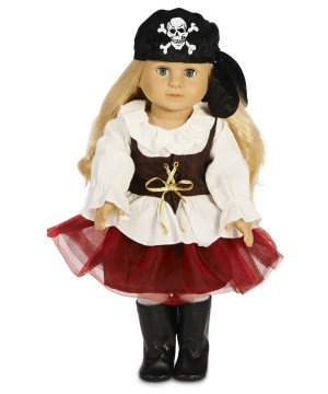 Red Tutu Pirate Doll Costume