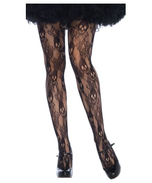 Womens Rose Skull Lace Tights
