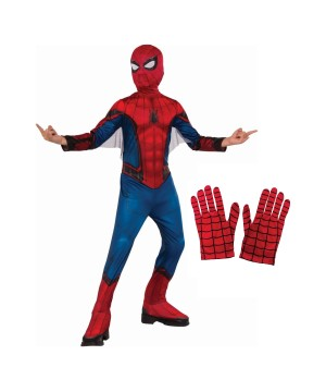 Boys Spiderman Homecoming Costume and Gloves Set