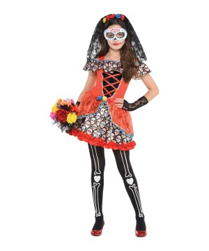Sugar Skull Senorita Girls Costume