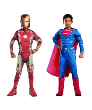 Boys Superman and Iron Man Costume Set