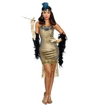 Womens Golden Flapper Dress Costume