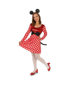 Womens Polka Dotted Minnie Mouse Costume