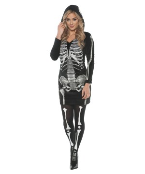 Womens Skeletal Hoodie Dress