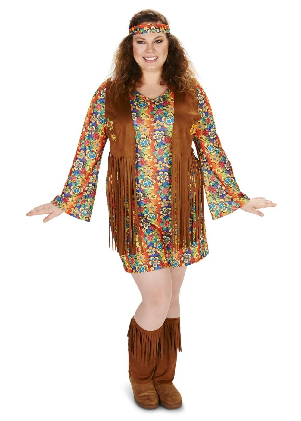 60s Fringe Womens Plus Hippie Costume