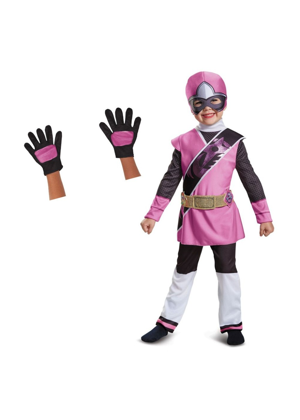 Pink Power Ranger Toddler Girls Costume and Gloves Set