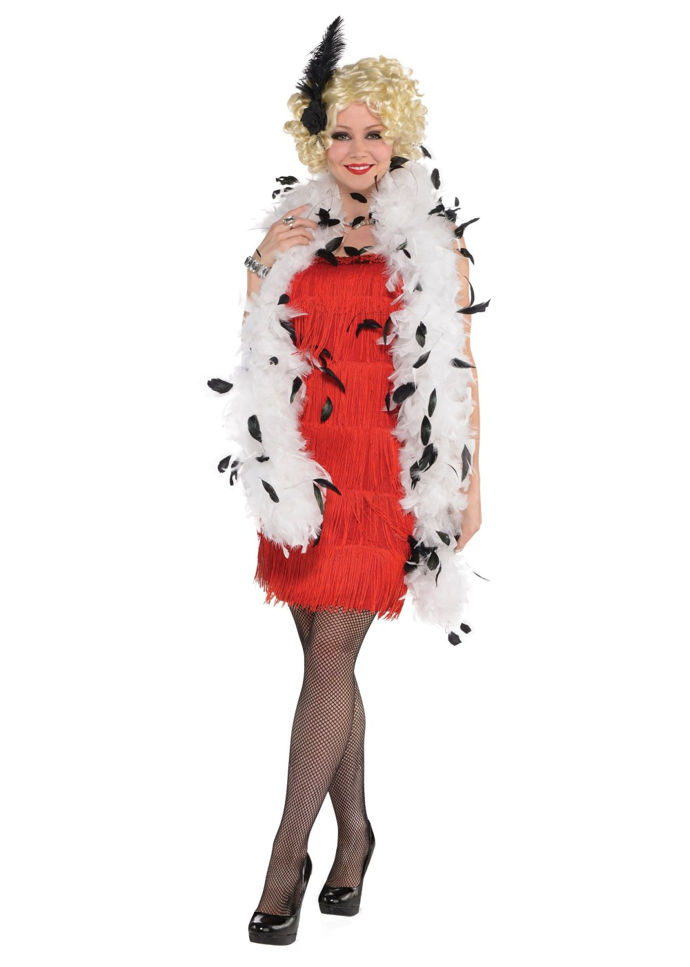 Black and White Feather Boa - Accessories