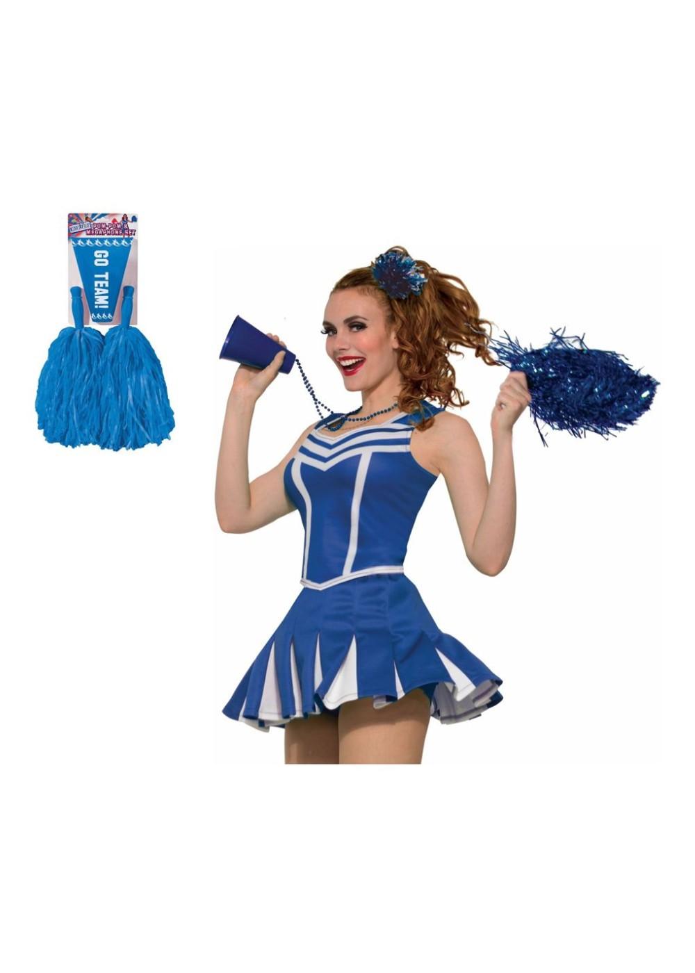 Blue Cheerleader Women Costume Set Sports Costumes