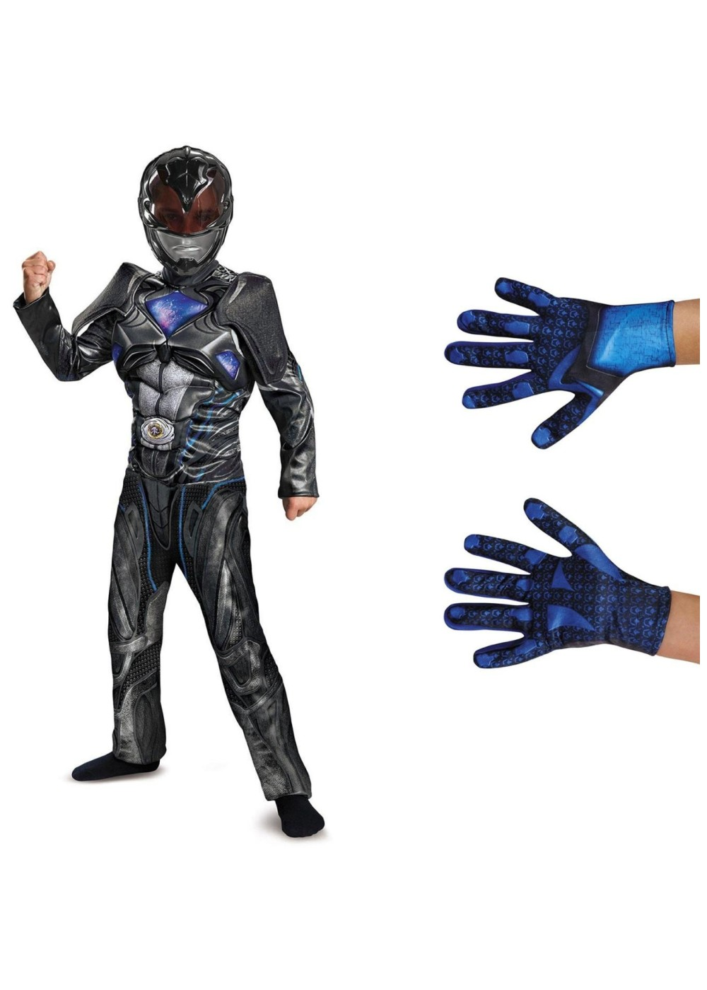 boys black power ranger costume kit