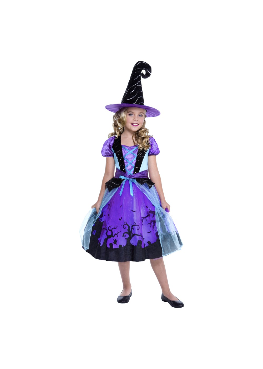 Kids Purple Witch Girls Costume