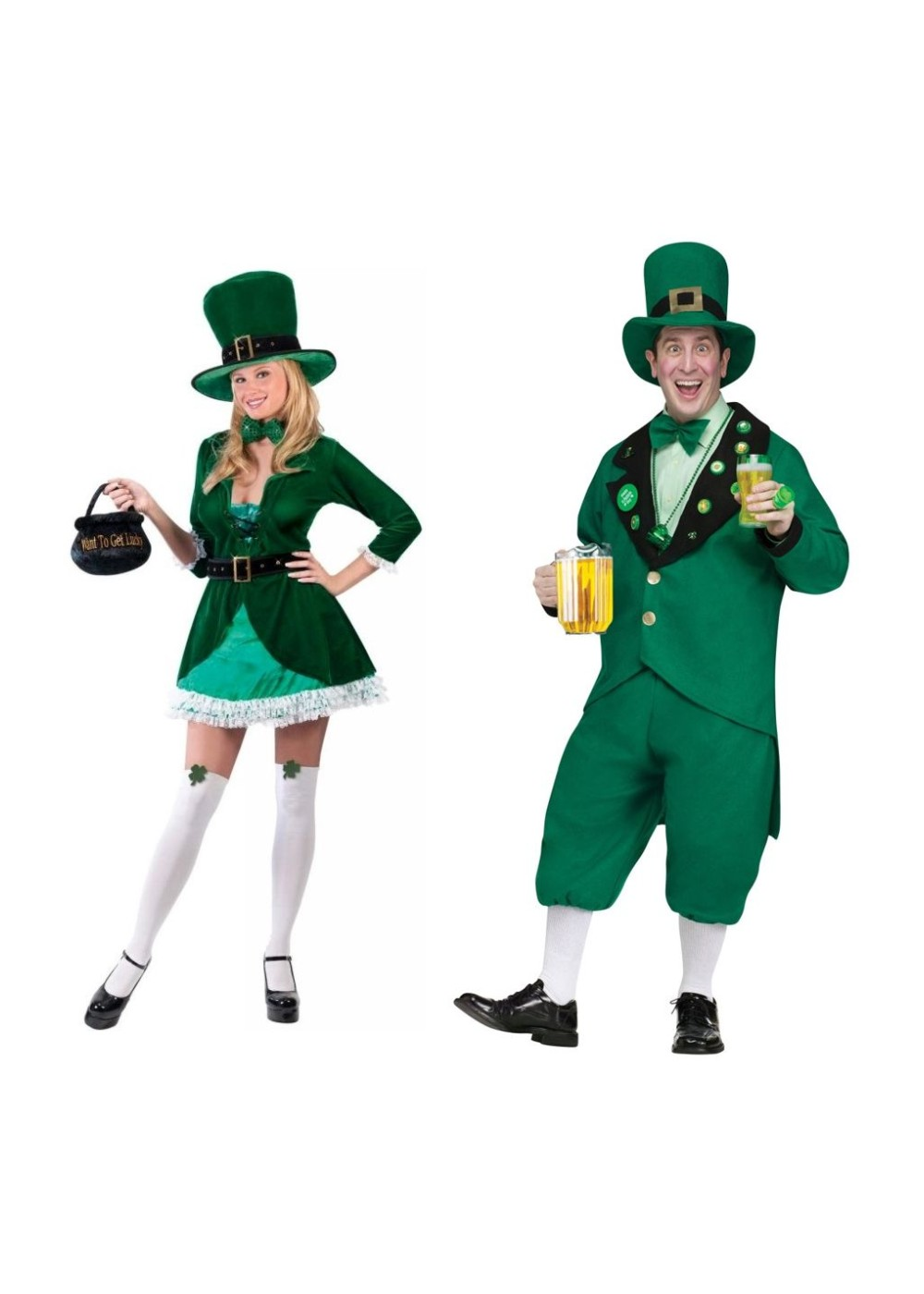 Leprechaun Men And Women Couples Costumes Set