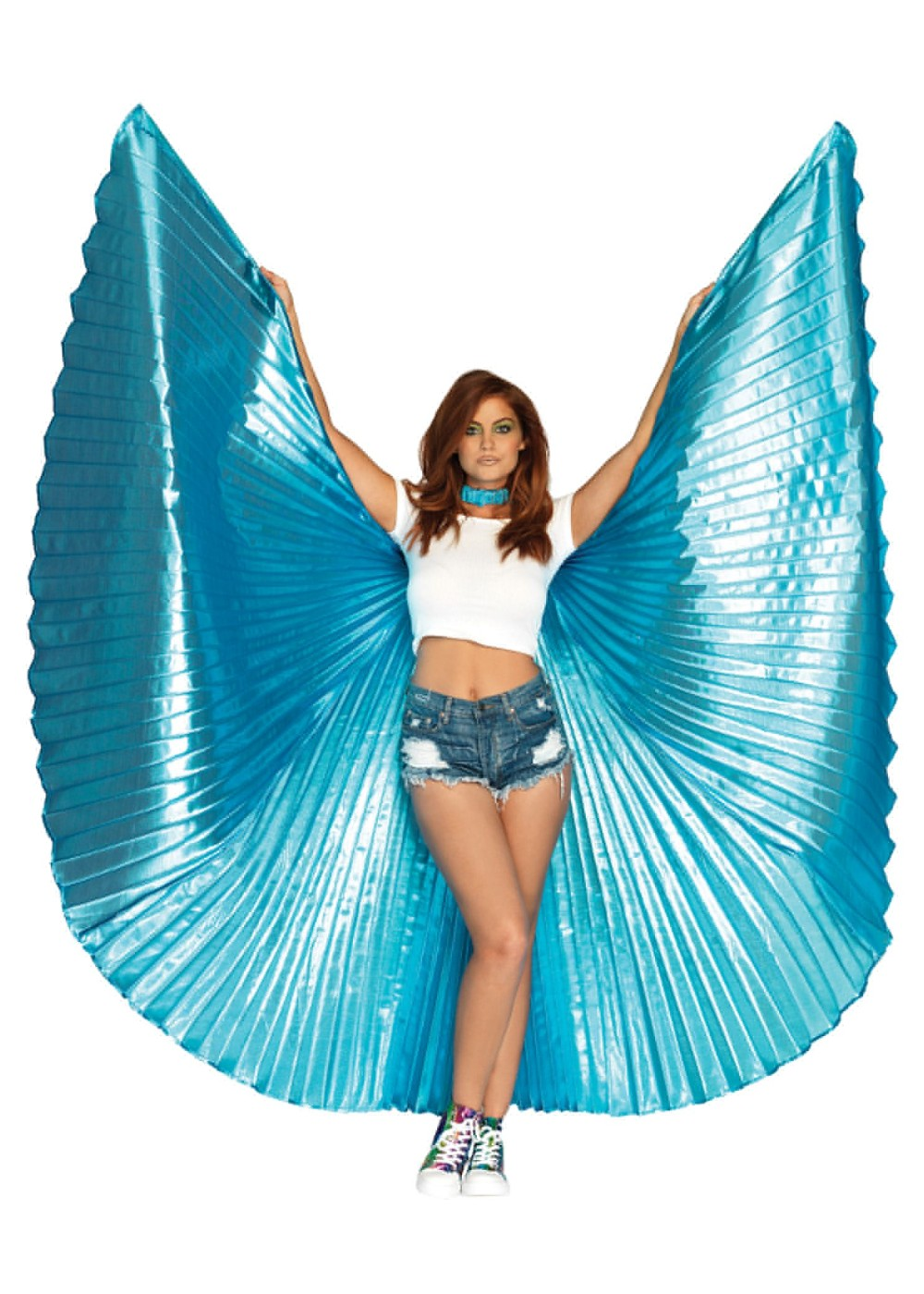 Womens Metallic Blue Pleated Wings