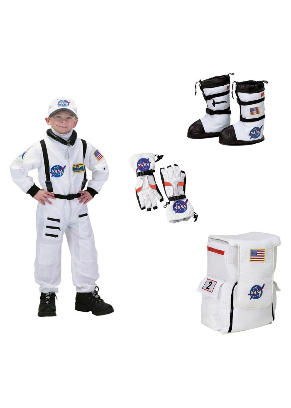Nasa Astronaut Boys Costume Boots Gloves And Backpack Set