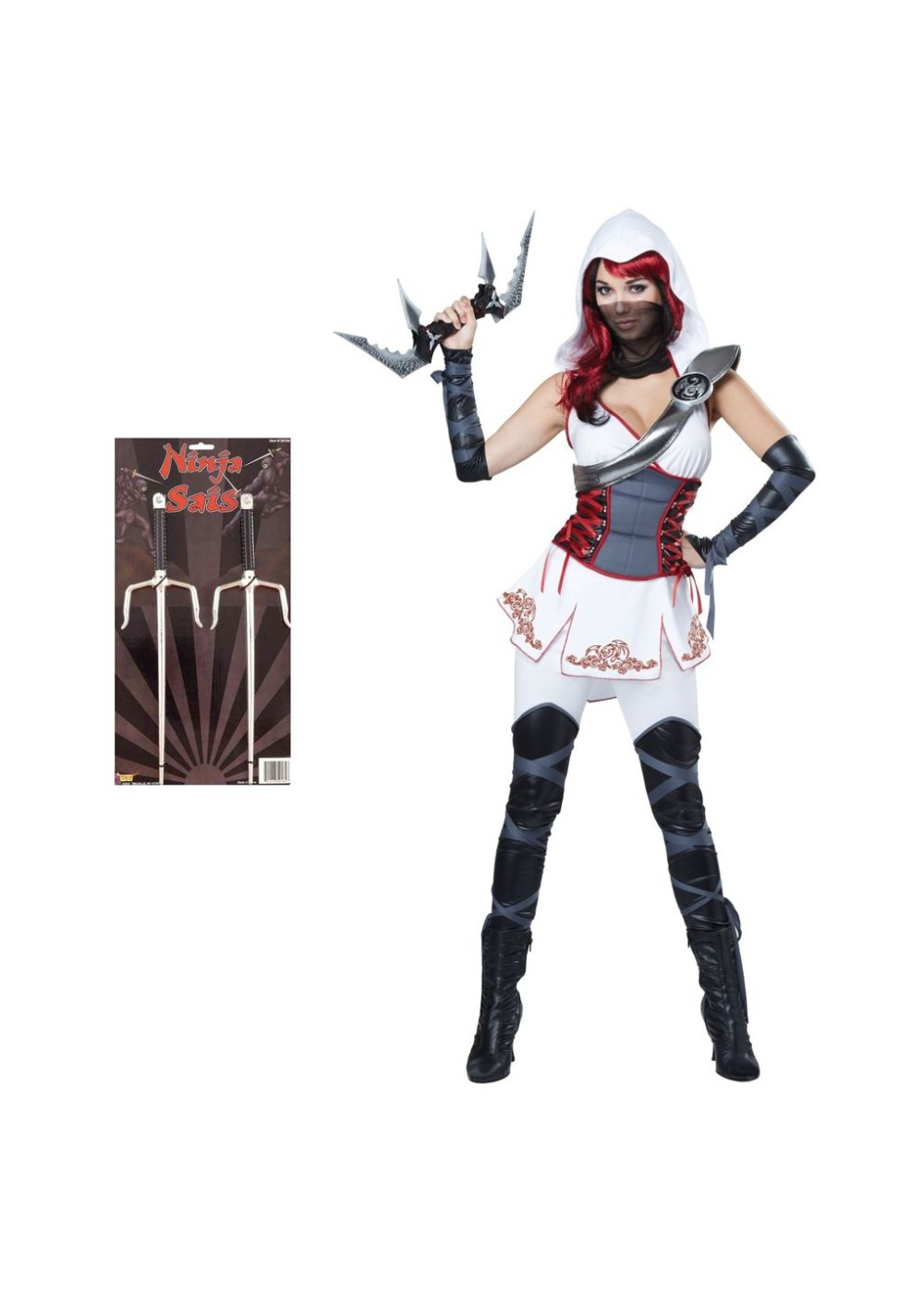 Ninja Women Costume And Metallic Sais Set