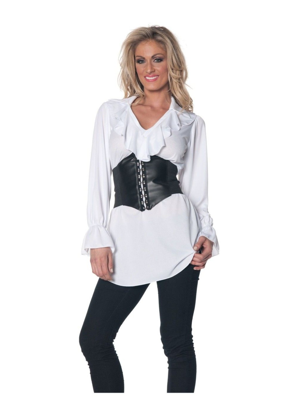 Pirate Woman Blouse And Waist Cincher Costume Kit