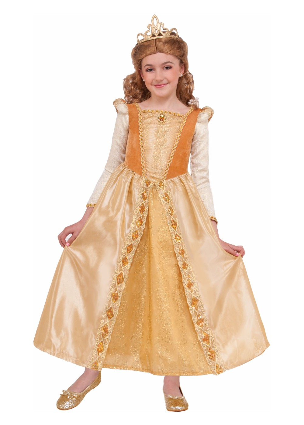 Kids Gold Princess Girls Costume