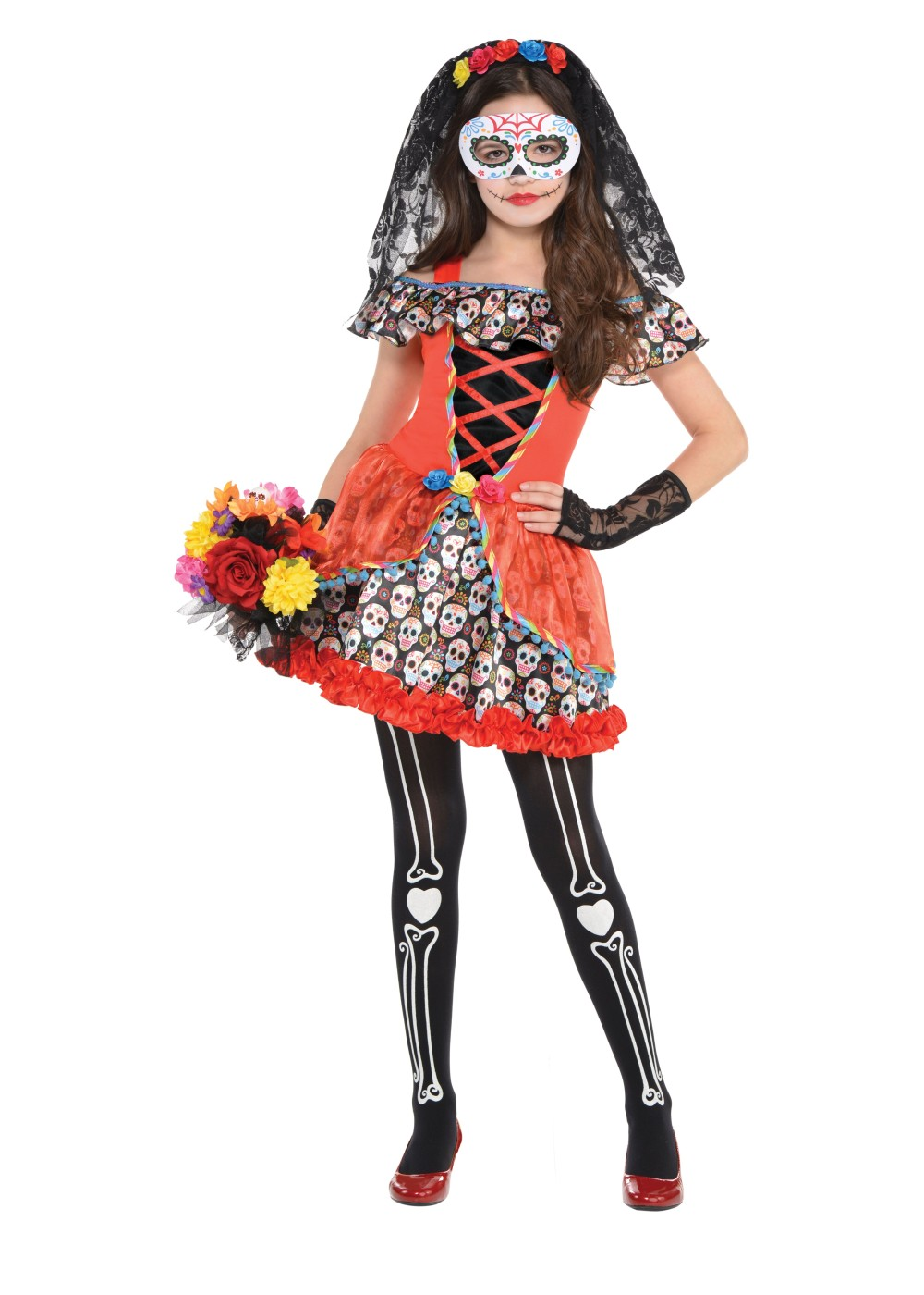 Sugar Skull Senorita Girls Costume  sc 1 st  Wonder Costumes & Sugar Skull Senorita Girls Costume - Holiday Costumes