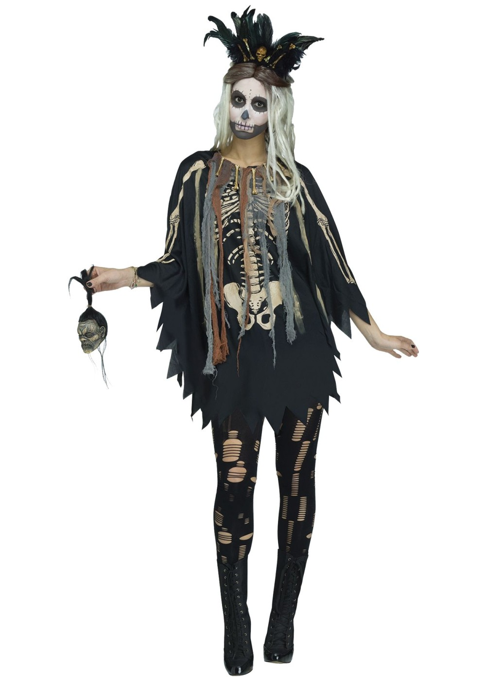 Womens Skeleton Poncho Costume